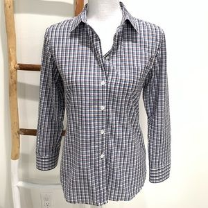 Theory Essential Plaid Tailored Button Down Shirt